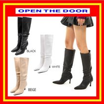 [OPEN THE DOOR] wrinkle high long boots (3 color) / 追跡付