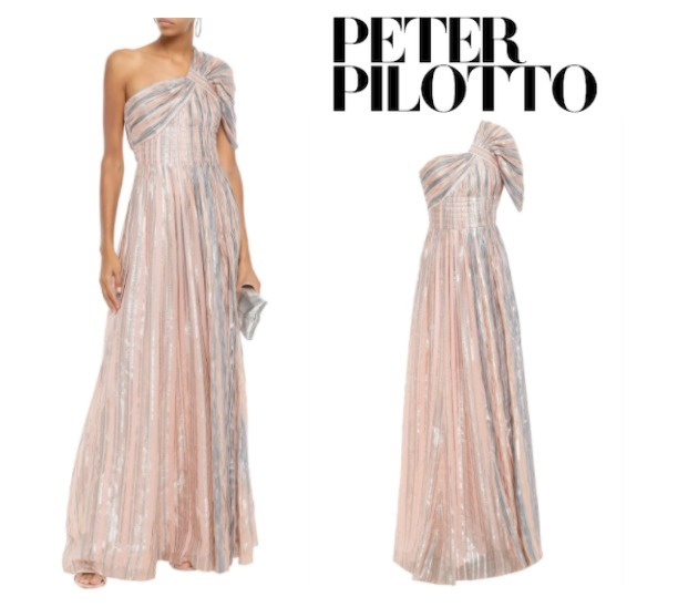 PETER PILOTTO☆One-shoulder gathered metallic striped gown (Peter Pilotto/ワンピースその他) 60796840