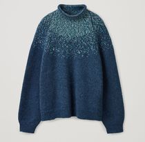 """""""COS"""" RECYCLED WOOL MIX FAIR ISLE KNIT JUMPER NAVY"""