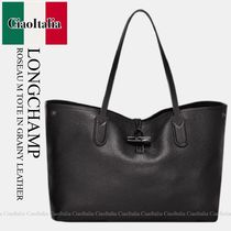 Longchamp  ROSEAU M TOTE IN GRAINY LEATHER