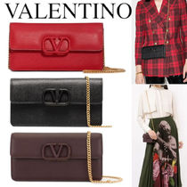 VALENTINO VSLING GRAINY CALFSKIN WALLET WITH CHAIN