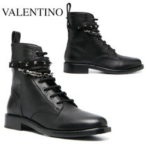 VALENTINO ROCKSTUD CHAIN-EMBELLISHED COMBAT BOOTS