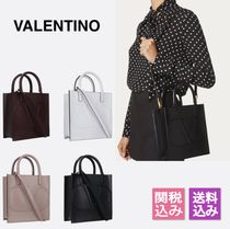 【VALENTINO】 V LOGO WALK SMALL SHINY LETHER TOTE BAG
