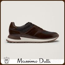 MassimoDutti♪LEATHER TRAINERS WITH FELT DETAIL