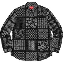 【在庫あり】Supreme Paisley Grid Shirt Black