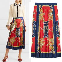 GUCCI★素敵!INTRIGUE PLACE printed silk-twill Pleated skirt