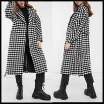 ASOS New Look belted maxi houndstooth coat