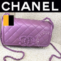 CHANEL バッグ ショルダー 革 チェーン CC マト 紫 直営店 限定