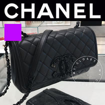 CHANEL バッグ ショルダー チェーン マト CC 革 黒 限定 直営店