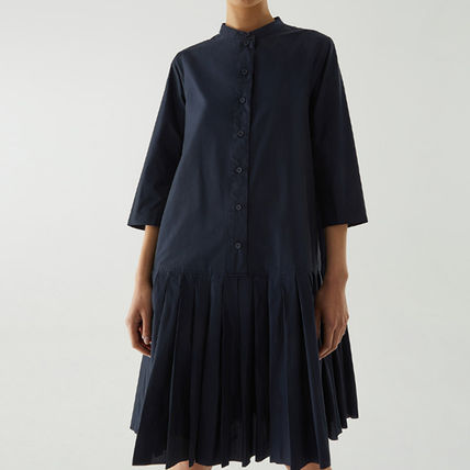 COS PLEATED LONG-SLEEVED DRESS