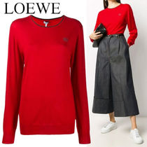 LOEWE ANAGRAM EMBROIDERED CREW NECK SWEATER IN CASHMERE
