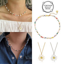 Pearl n Crystal Beads Necklace+Vintage Daisy Necklace 2点SET