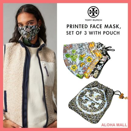 Tory Burch マスク 【Tory Burch】PRINTED FACE MASK, SET OF 3 WITH POUCH♪