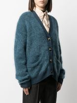 ACNE Rives Mohair teal blue モヘア混リブトリムカーディガン青