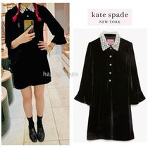 【kate spade】日本完売!jewel-button velvet shirtdress