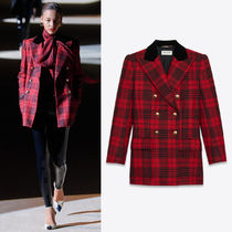 WSL1847 LOOK1 DOUBLE-BREASTED JACKET IN PRINCE OF WALES WOOL