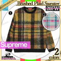 20FW /Supreme Brushed Plaid Sweater チェック ロゴ セーター