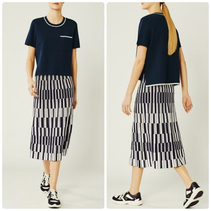 [ TORY SPORT ] MOTLEY-CHECK TECH KNIT PLEATED SKIRT