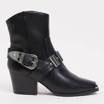 River Island hardwear western boot in black