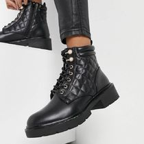 New Look pearl detail quilted lace up hiker boots