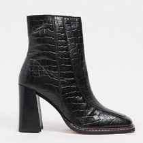 River Island croc square toe heeled boot