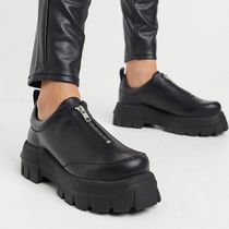 ASOS Micah premium leather chunky zip front flat shoes