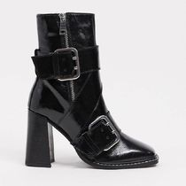 River Island buckle square toe heeled boot in black