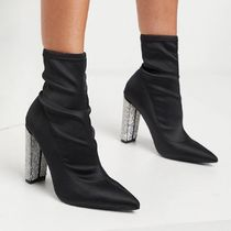 ASOSDESIGN Electro high-heeled sock boots with diamante heel