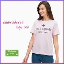 【kate spade】ロゴが可愛い♪ embroidered logo tee★Tシャツ