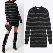 WSL1882 SEQUIN-STRIPED KNIT SWEATER DRESS IN MOHAIR