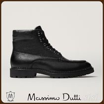 MassimoDutti♪LEATHER BOOTS WITH BLACK TRACK SOLES
