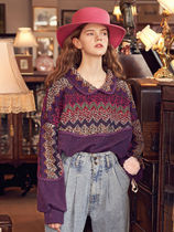 VITALSIGN☆Collar Knit Pattern Sweatshirt_Purple