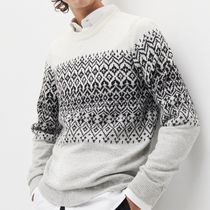"RESERVED(リザーブド) ニット・セーター ""RESERVED MEN"" NORDIC SWEATER WHITE/GRAY"