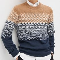 "RESERVED(リザーブド) ニット・セーター ""RESERVED MEN"" NORDIC SWEATER BEIGE/NAVY"