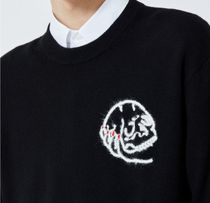"""""""The Kooples"""" BLACK SWEATER IN WOOL WITH SKULL EMBROIDERY"""