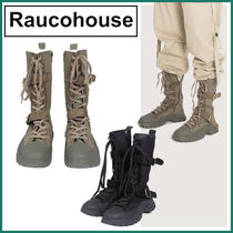 【Raucohouse】Leather combat canvas bootsー★