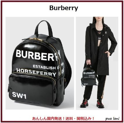 【Burberry】ホースフェリープリント キャンバス バックパック