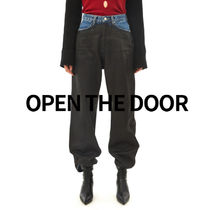 OPEN THE DOOR leather mix jeans