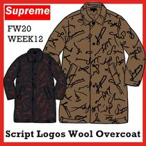 Supreme Script Logos Wool Overcoat FW 20 WEEK 12