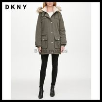 DKNY Faux-Fur Trim Hooded Water-Resistant Anorak Coat 4色