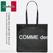 COMME DES GARCONS HUGE LOGO SMOOTH LEATHER FLAT TOTE