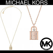 Michael Kors Rose Gold Plated Crystal Padlock Necklace