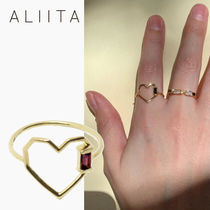 ALIITA(アリータ) 指輪・リング 【ALIITA】CORAZON BAGUETTE GARNET RING 9K YELLOW GOLD ハート