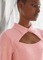 & Other Stories☆Knitted Cut-Out Collar Top(light  pink)
