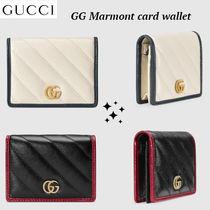 大人気!!ゴールド ロゴ★GUCCI★GG Marmont card case wallet