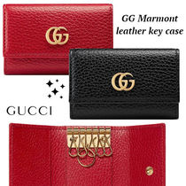 大人気!!ゴールド ロゴ★GUCCI★GG Marmont leather key case