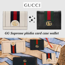 大人気!!ゴールド ロゴ★GUCCI★GG Supreme Ophidia card wallet