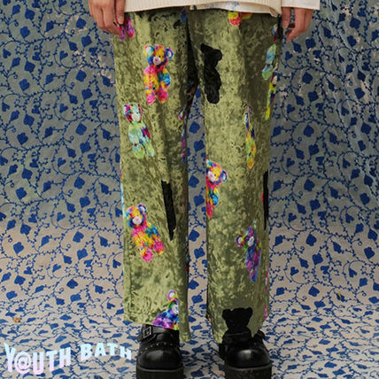 YOUTHBATH パンツ ★YOUTHBATH★VELOUR GRAPHIC PANTS_KHAKI★正規品/韓国直送料込