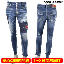 【即納】DSQUARED2 CANADIAN CHECK RIPPED WASH SKATER JEANS