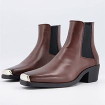 ASOS DESIGN cuban heel western chelsea boot with metal cap
